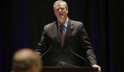 "Massachusetts Republican Gov. Charlie Baker opens a session called ""Curbing The Opioid Epidemic"" at the first day of the National Governor's Association meeting Thursday, July 13, 2017, in Providence, R.I. (AP Photo/Stephan Savoia)"