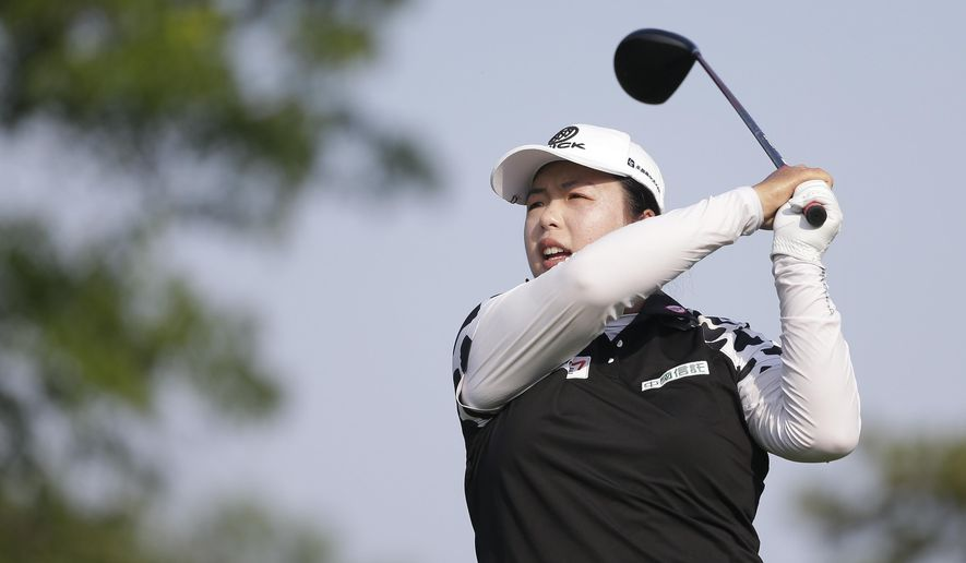 China's Shanshan Feng tees off on the 13th hole during the first round of the U.S. Women's Open Golf tournament Thursday, July 13, 2017, in Bedminster, N.J. (AP Photo/Seth Wenig)