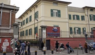 FILE - This April 1, 2016 file photo shows a view of the Vatican-run Bambin Gesu' pediatric hospital, in Rome. On Thursday, July 13, 2017 Vatican prosecutors indicted the former president and ex-treasurer of the Vatican-run children's hospital for allegedly diverting money from the hospital's foundation to pay for renovations on a top cardinal's apartment. (AP Photo/Andrew Medichini, files)