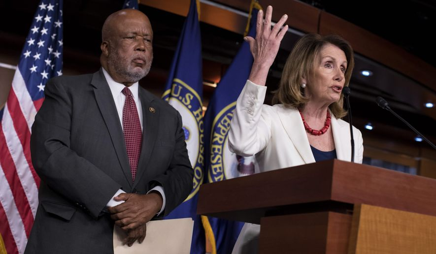 House Minority Leader Nancy Pelosi, D-Calif., joined at left by Rep. Bennie Thompson, D-Miss., ranking member of the House Homeland Security Committee, holds a news conference on Russian meddling in the U.S. election and other issues, at the Capitol in Washington, Thursday, June 29, 2017. (Associated Press) **FILE**