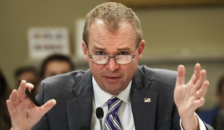 In this May 24, 2017, file photo, Budget Director Mick Mulvaney testifies on Capitol Hill in Washington, before the House Budget Committee hearing on President Donald Trump's fiscal 2018 federal budget. (AP Photo/Jacquelyn Martin, File)