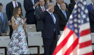 U.S. President Donald Trump salutes as he watches with his wife Melania Trump the traditional Bastille Day military parade on the Champs Elysees, in Paris, Friday, July 14, 2017. (AP Photo/Michel Euler) ** FILE **