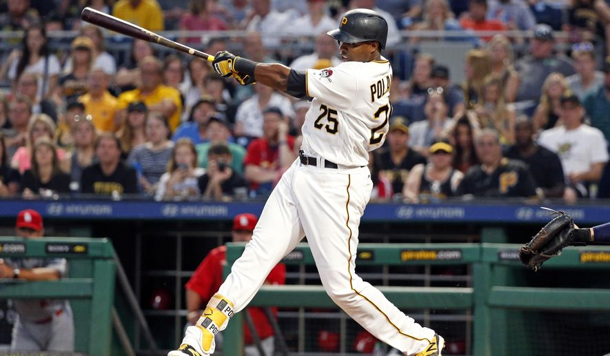 Pittsburgh Pirates' Gregory Polanco drives in a run with a single off St. Louis Cardinals starting pitcher Mike Leake during the fifth inning of a baseball game in Pittsburgh, Friday, July 14, 2017. (AP Photo/Gene J. Puskar)