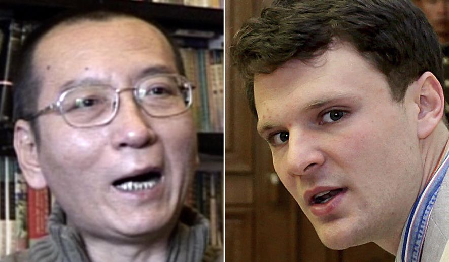 FILE - This combination of file photos shows Nobel Peace Prize laureate Liu Xiaobo, left, in Beijing on Jan. 6, 2008, and American student Otto Warmbier in Pyongyang on Feb. 29, 2016. North Korea released Warmbier in mid-June in a coma. Imprisoned Chinese democracy activist Liu was diagnosed with late-stage liver cancer and transferred to a hospital. Both men have died. The two authoritarian governments made their own internal calculations about how best to deal with the situations, in seeming disregard of international pressure and public opinion. (AP Photo/File)
