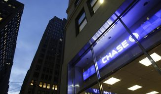 FILE - This Wednesday, Jan. 14, 2015, file photo shows a Chase bank branch, in New York. JPMorgan Chase & Co. reports earnings, Friday, July 14, 2017. (AP Photo/Mark Lennihan, File)