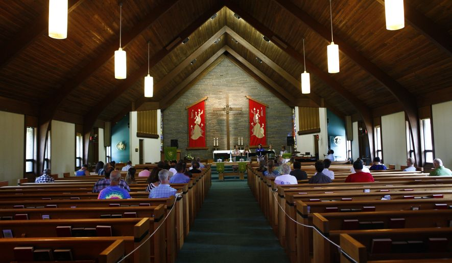 Churchgoers attend a Sunday service at the Metropolitan Community Church of the Lehigh Valley in Bethlehem, Pa., on June 25, 2017. (Erin Gallagher/The Express-Times via AP) ** FILE **