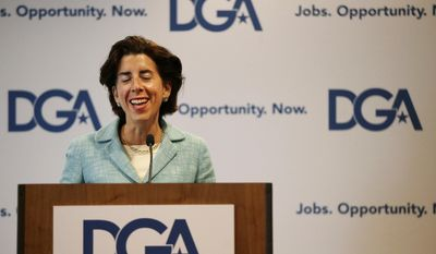 Rhode Island Gov. Gina Raimondo smiles as she addresses a Democratic Governors joint news conference during the National Governor's Association meeting to highlight the damaging impact they contend the pending Senate health care bill would have on their states at the second day of the NGA meeting Friday, July 14, 2017, in Providence, R.I. (AP Photo/Stephan Savoia)