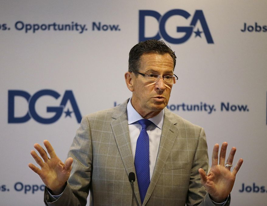 Connecticut Democratic Gov. Dannel Malloy addresses a Democratic Governors joint news conference during the National Governor's Association meeting to highlight the damaging impact they contend the pending Senate healthcare bill would have on their states at the second day of the NGA meeting Friday, July 14, 2017, in Providence, R.I. (AP Photo/Stephan Savoia)