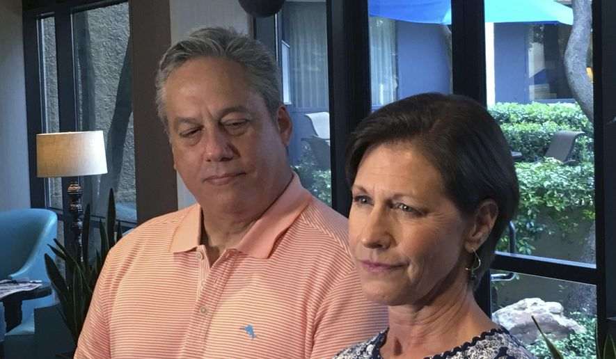 Terri Valenti, right, who will be the NFL's first female instant replay official, and Alberto Riveron, the NFL's new head of officiating, speak to reporters before the start of the annual NFL officiating clinic Friday,  July, 14, 2017 at a hotel in Irving, Texas. Valentini moves into the booth two years after Sarah Thomas became the NFL's first full-time female official on the field, and Riveron was promoted after Dean Blandino left the NFL. (AP Photo/Stephen Hawkins)