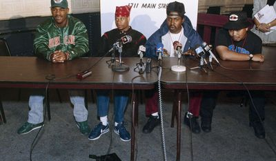 "FILE - In this Oct. 3, 1990, file photo, 2 Live Crew member Mr. Mixx (David Hobbs), second from right, speaks to reporters at the Late Show night club in Niagara Falls, N.Y., while being joined by fellow group members, J.T. Money, left, Brother Marquis, second from left; and Fresh Kid Ice, right. Christopher Wong Won, known as Fresh Kid Ice and a founding member of the Miami hip-hop group 2 Live Crew has died Thursday, July 13, 2017, at a Veterans Affairs hospital in Miami as a result of ""medical conditions"" he had suffered for several years, the group's manager, DJ Debo, said. He was 53.  (AP Photo/Mike Groll, File)"