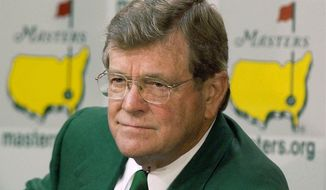 FILE - This April 10, 2002, file photo shows Hootie Johnson, then-chairman of the Augusta National Golf Club, during a news conference at the Augusta National Golf Club in Augusta, Ga. Hootie Johnson, the South Carolina banker who as chairman of Augusta National stood his ground on inviting female members, has died. Augusta National said Johnson died Friday morning, July 14, 2017. He was 86. (AP Photo/Elise Amendola, File)