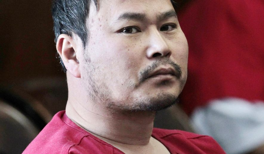 FILE - In this April 30, 2012 file photo, One Goh appears in an Alameda County courtroom in Oakland, Calif. Goh a disgruntled former nursing student who pleaded no contest to killing seven people at a Northern California vocational college five years ago will spend the rest of his life in prison following his sentencing Friday, July 14, 2017. (AP Photo/Paul Sakuma, File)