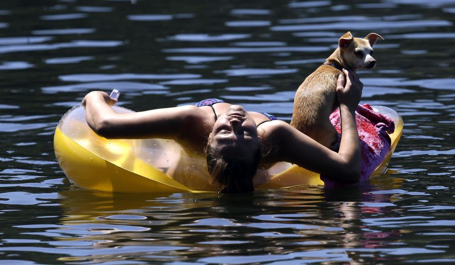 FILE - In this July 6, 2015 file photo, Justine Hicks floats with her dog, Kiana, on the Willamette River in Portland, Ore. Portland is well-known as a tree-hugging, outdoorsy city, but the river that powers through its downtown has never been part of that green reputation. For decades, residents have been repulsed by the idea of swimming in the Willamette River because of weekly sewage overflows that created a bacterial stew. Now, the recent completion of a $1.4 billion sewage pipe has flushed those worries - and the river once shunned by swimmers is enjoying a rapid renaissance.  (AP Photo/Don Ryan, File)