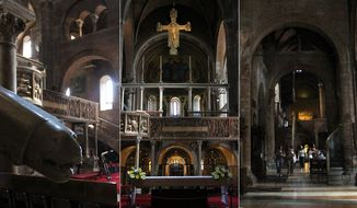Interior of the landmark Romanesque cathedral Duomo di Modena (Photograph by Jacquie Kubin special to The Washington Times)