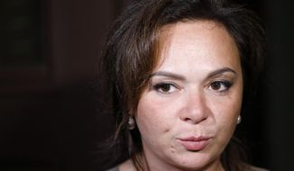 FILE-  In this file photo taken on Tuesday, July 11, 2017, Russian lawyer Natalia Veselnitskaya speaks to journalists in Moscow, Russia. A billionaire real estate mogul, his pop singer son, a music promoter, a property lawyer and Russia's prosecutor general are unlikely figures who surfaced in emails released by Donald Trump Jr. as his father's presidential campaign sought potentially damaging information in 2016 from Russia about his opponent, Hillary Clinton. (AP Photo/Alexander Zemlianichenko, file)