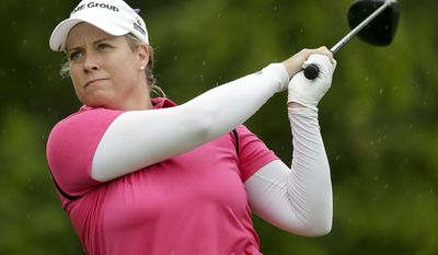 Brittany Lincicome tees off the 15th hole during the second round of the U.S. Women's Open Golf tournament Friday, July 14, 2017, in Bedminster, N.J. (AP Photo/Seth Wenig)