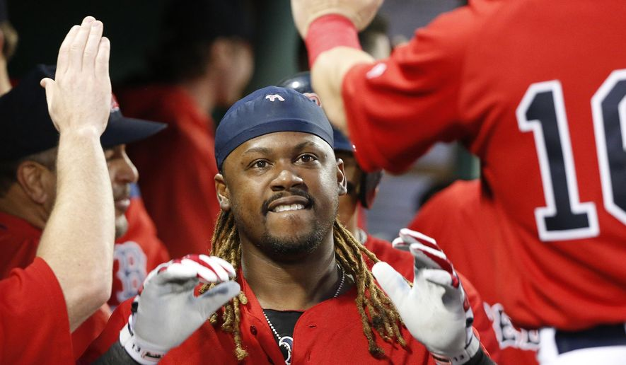 Boston Red Sox's Hanley Ramirez celebrates his two-run home run during the third inning of a baseball game against the New York Yankees in Boston, Friday, July 14, 2017. (AP Photo/Michael Dwyer)