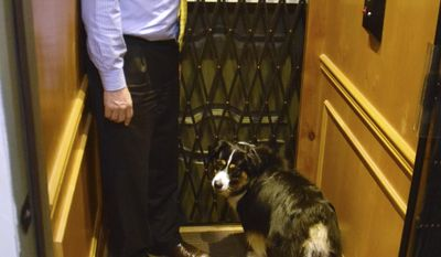 "ADVANCE FOR WEEKEND USE JULY 15, 2017 AND THEREAFTER - In this Thursday, July 6, 2017 photo, Mark Choate rides the elevator of his new house with his dog, Obi Wan Kenobi, in Juneau, Alaska. Choate said ""My idea was to build a house that will last 1,000 years,"" After eight years and several million dollars, he may have just that. The secret passageway, elevator, wine cellar, and tower-top study are added bonuses. ""This is a commitment to Juneau, a commitment to the community for longevity. Juneau's a place you can plan to live generations in,"" he said. ""For this amount of money, we could've built anywhere in the world, but we wanted to be here."" (James Brooks/The Juneau Empire via AP)"