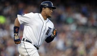 Detroit Tigers' Miguel Cabrera rounds the bases after his two-run home run during the sixth inning of a baseball game against the Toronto Blue Jays, Saturday, July 15, 2017, in Detroit. (AP Photo/Carlos Osorio)