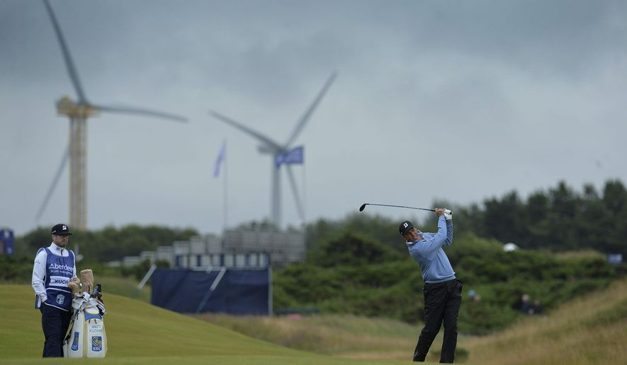 Matt Kuchar of the United States plays his second shot at the 5th hole during day three of the Scottish Open golf tournament at Dundonald Links, Troon, Scotland, Saturday, July 15, 2017. (Mark Runnacles/PA via AP)