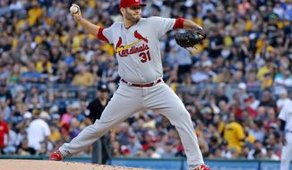 St. Louis Cardinals starting pitcher Lance Lynn delivers in the first inning of a baseball game against the Pittsburgh Pirates in Pittsburgh, Saturday, July 15, 2017. (AP Photo/Gene J. Puskar)