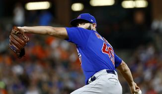 Chicago Cubs starting pitcher Jake Arrieta throws to the Baltimore Orioles in the fifth inning of a baseball game in Baltimore, Saturday, July 15, 2017. (AP Photo/Patrick Semansky)