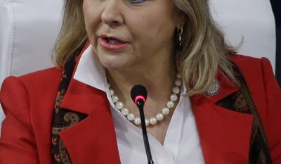 """Oklahoma Republican Gov. Mary Fallin addresses a plenary session entitled """"The Workforce of Tomorrow"""" on the third day of the National Governors Association's meeting Saturday, July 15, 2017, in Providence, R.I. (AP Photo/Stephan Savoia)"""