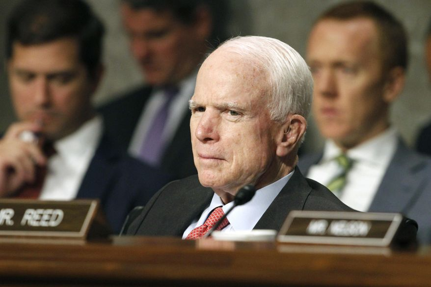 A vote planned for this week on the Senate's health care bill has been postponed indefinitely to give Sen. John McCain, Arizona Republican, time to recover from a procedure to remove a blood clot above his eye. (Associated Press/File)