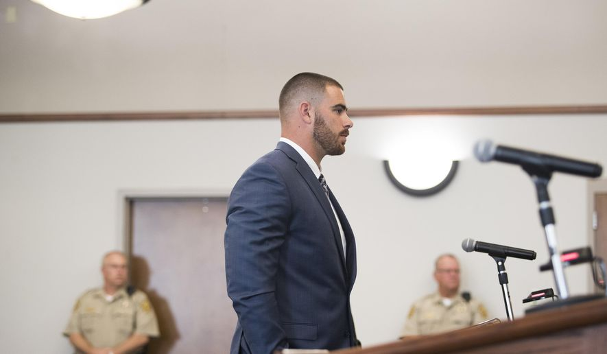 In this Friday, July 14, 2017 photo, current Los Angeles Rams tight end and former Western Kentucky Hilltopper Tyler Higbee pleads guilty to one count of assault under extreme emotional distress at the Warren County Justice Center in Bowling Green, Ky. The charge stemmed from a 2016 fight in a parking lot in Kentucky. (Austin Anthony/Daily News via AP)