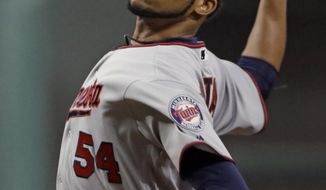 Minnesota Twins starting pitcher Ervin Santana throws during the first inning of a baseball game against the Houston Astros, Saturday, July 15, 2017, in Houston. (AP Photo/David J. Phillip)