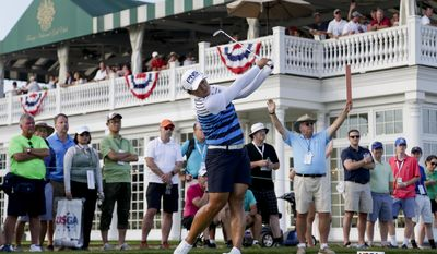 South Korea's Amy Yang tees off the 16th hole during the third round of the U.S. Women's Open golf tournament Saturday, July 15, 2017, in Bedminster, N.J. (AP Photo/Seth Wenig)