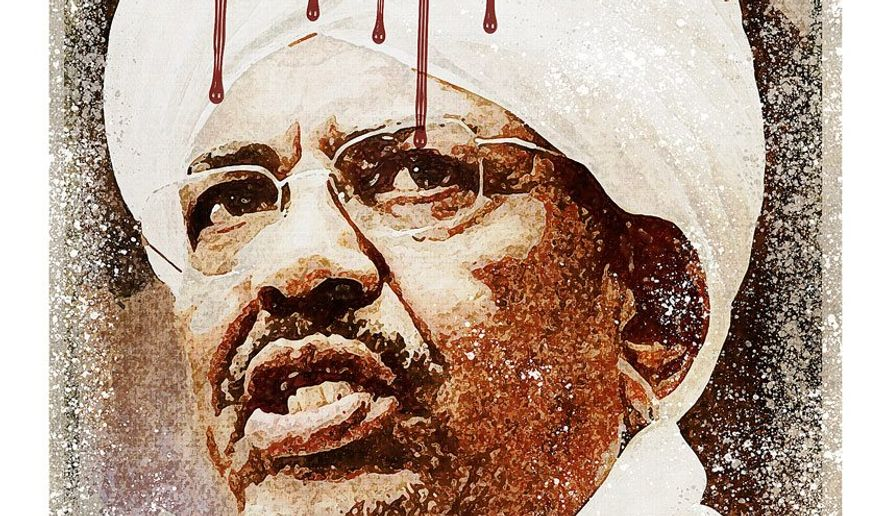 Sudanese Genocide War Criminal Illustration by Greg Groesch/The Washington Times