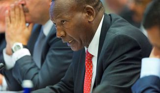 Joseph Nkaissery, Cabinet Secretary for Interior and Coordination of National Government for Kenya speaks at the Countering Violent Extremism (CVE) Summit, at the State Department in Washington. Nkaissery died Saturday, July 8, 2017, at a Nairobi hospital a few hours after being admitted for a checkup, according to Joseph Kinyua, who is President Uhuru Kenyatta's chief of staff. (AP Photo/Pablo Martinez Monsivais, File)