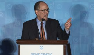 In this Feb. 25, 2017 file photo, Tom Perez, speaks in Atlanta. As Democrats look to reverse Republicans monopoly control in Washington and the GOP advantage in state capitals, the party is still looking for a crisp, simple message for voters. We know that we can be an America that works for everyone, because we believe that our diversity is our greatest strength. ... And we believe that when we put hope on the ballot we do well, and when we allow others to put fear in the eyes of people we dont do so hot, said Perez.(AP Photo/Branden Camp, File) **FILE**