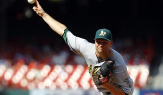 FILE - This Aug. 28, 2016 file photo shows Oakland Athletics relief pitcher Ryan Madson throwing during the ninth inning of a baseball game against the St. Louis Cardinals in St. Louis. The Washington Nationals acquired Madson and reliever Sean Doolittle from the Oakland Athletics for right-hander Blake Treinen and a pair of prospects, Sunday, July 16, 2017. (AP Photo/Billy Hurst, file)