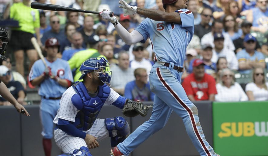 Philadelphia Phillies' Nick Williams hits a grand slam during the sixth inning of a baseball game against the Milwaukee Brewers Sunday, July 16, 2017, in Milwaukee. (AP Photo/Morry Gash)