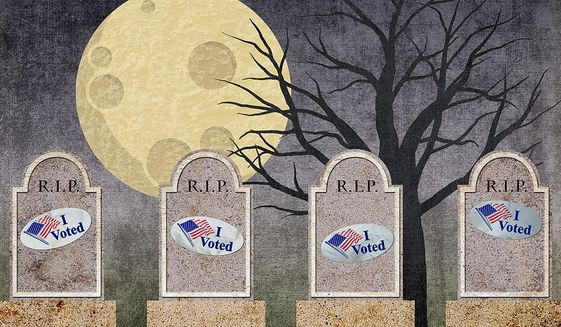 Voters Registered in Perpetuity Illustration by Greg Groesch/The Washington Times