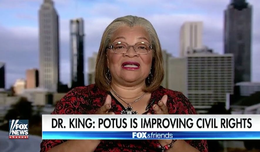 "Fox News contributor Alveda King, the niece of slain civil rights leader Martin Luther King Jr., called President Trump a ""compassionate"" and ""brilliant"" man who cares about the civil rights of all Americans, including the unborn. (Fox News)"