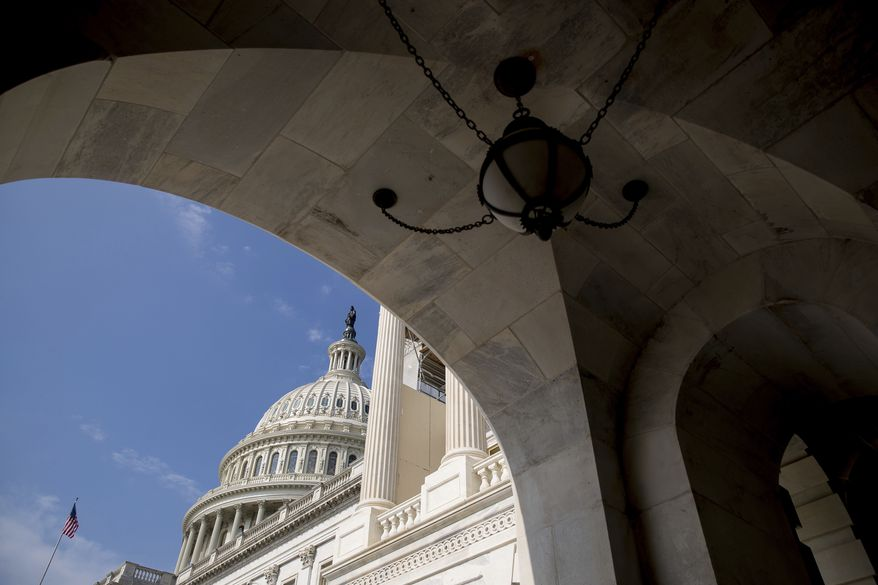 The Capitol Dome of the Capitol Building in Washington, Monday, July 17, 2017. The Senate has been forced to put the republican's health care bill on hold for as much as two weeks until Sen. John McCain, R-Ariz., can return from surgery. (AP Photo/Andrew Harnik)