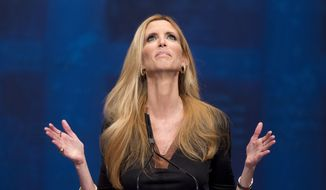 In this Feb. 10, 2012, file photo, Ann Coulter gestures while speaking at the Conservative Political Action Conference (CPAC) in Washington. Delta pushed back at Coulter after the conservative commentator berated the carrier on Twitter over a changed seat assignment for a July 15, 2017, flight from New York to West Palm Beach, Fla. (AP Photo/J. Scott Applewhite, File)
