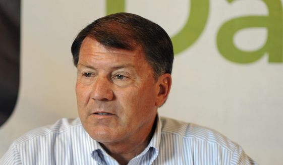 In this Aug. 17, 2016, file photo, U.S. Sen. Mike Rounds, R-S.D., attends a forum with South Dakota's congressional delegation in Mitchell, S.D. (AP Photo/James Nord, File)