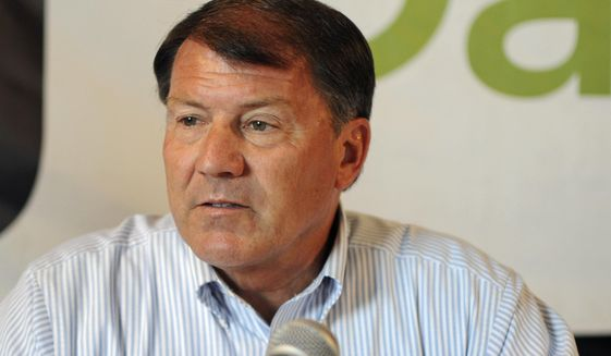 FILE - In this Aug. 17, 2016, file photo, U.S. Sen. Mike Rounds, R-S.D., attends a forum with South Dakota's congressional delegation in Mitchell, S.D. Rounds is set to host a tele-town hall to talk about the Senate Republican health care bill and other issues Monday night, July 17, 2017. (AP Photo/James Nord, File)