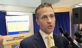 Missouri Gov. Eric Greitens speaks to reporters in St. Louis on July 17, 2017, after signing an executive order establishing a prescription drug monitoring program. Missouri was the last state without a PDMP. (AP Photo/Jim Salter) ** FILE **