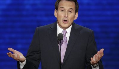 """FILE - In this Aug. 29, 2012 file photo, former Minnesota Gov. Tim Pawlenty addresses the Republican National Convention in Tampa, Fla. Not all of Minnesota's former governors are happy with biographical plaques that went up this month next to their portraits at the recently restored state Capitol. Pawlenty said his biography seems to have a political bias and leaves out his key accomplishments. """"It's disappointing, reads like a political commentary in parts, and is not up to the Minnesota Historical Society's usual quality standards,"""" Pawlenty wrote in an email. (AP Photo/J. Scott Applewhite, File)"""