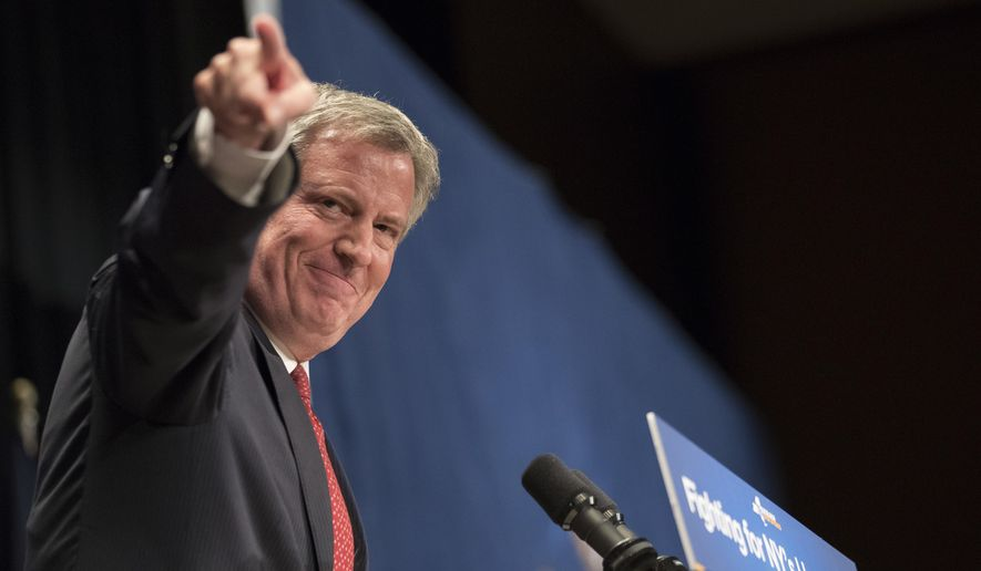 New York City Mayor Bill de Blasio speaks during a rally in support of the Affordable Care Act and against the Senate replacement bill, Monday, July 17, 2017, in New York. (AP Photo/Mary Altaffer) ** FILE **