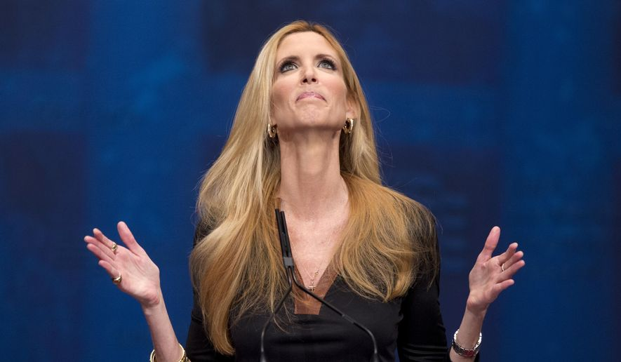 In this Feb. 10, 2012, file photo, Ann Coulter gestures while speaking at the Conservative Political Action Conference (CPAC) in Washington. (AP Photo/J. Scott Applewhite, File)