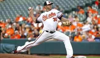 Baltimore Orioles starting pitcher Chris Tillman throws to the Texas Rangers during the first inning of a baseball game in Baltimore, Monday, July 17, 2017. (AP Photo/Patrick Semansky)
