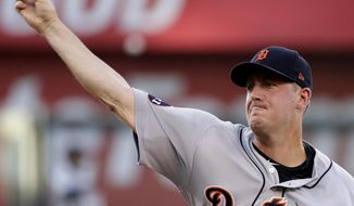 Detroit Tigers starting pitcher Jordan Zimmermann throws during the first inning of the team's baseball game against the Kansas City Royals on Monday, July 17, 2017, in Kansas City, Mo. (AP Photo/Charlie Riedel)