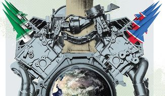 Illustration on the dire results of nuclear proliferation by Linas Garsys/The Washington Times