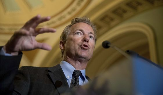 Sen. Rand Paul, R-Ky., speaks at a news conference on Capitol Hill in Washington, Tuesday, July 18, 2017. (AP Photo/Andrew Harnik)
